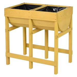 Giantex Raised Wooden V Planter Bed With Liner