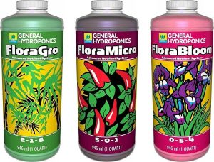 General Hydroponics Fertilizer Set- Flora Gro, Micro and Bloom